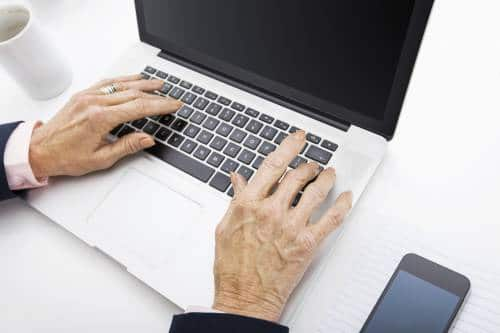 typing on computer