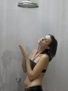 lady showering