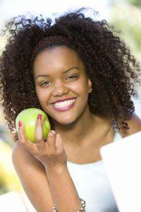 eating an apple