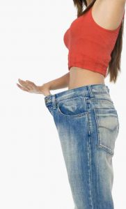 woman wearing big jeans